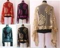Новых Китайских женщин Silk Полиэстер Блестки Вышивает Шарфа шали Оптовая и розничная WS-06
