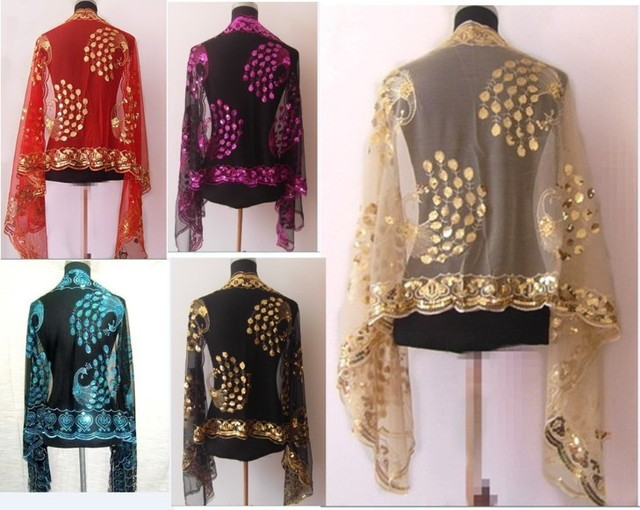 New Chinese Women's Silk Polyester Sequin Embroider Shawl Scarf Wholesale and retail WS-06