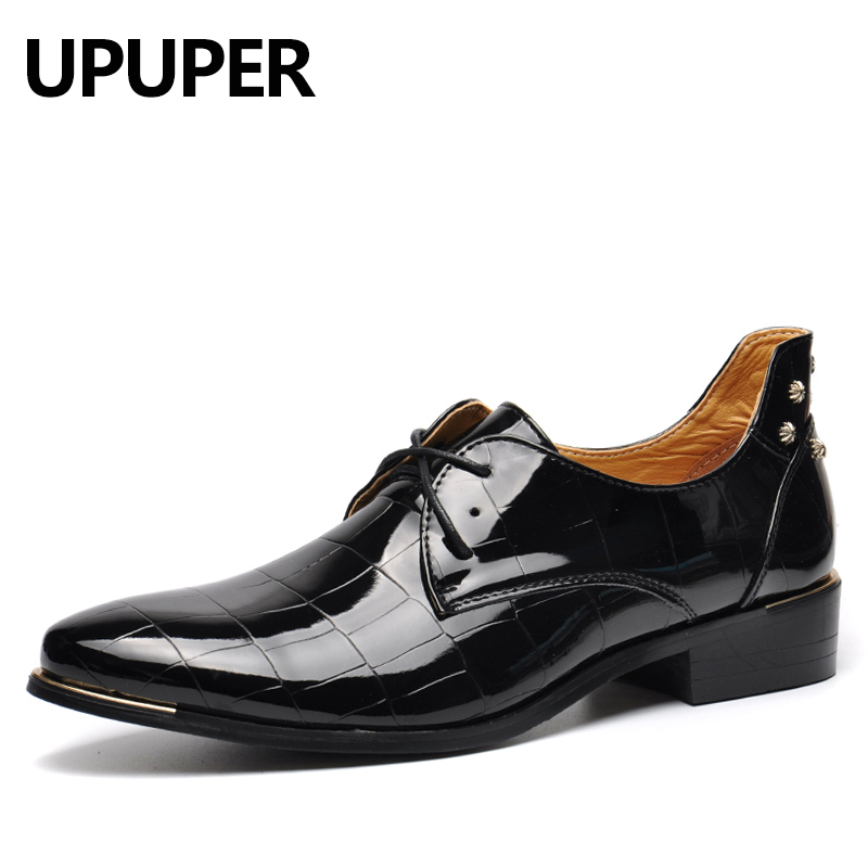 Fashion Rivets Men Shoes Business Dress Shoes Breathable Patent Leather Shoes Pointed Toe 2018 New Arrival Oxfords Big Size 45-4