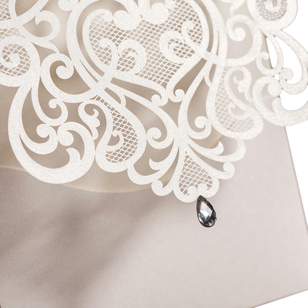 WISHMADE bijelo zlato laserski rez vjenčanja pozivnice Elegantan - Za blagdane i zabave - Foto 4