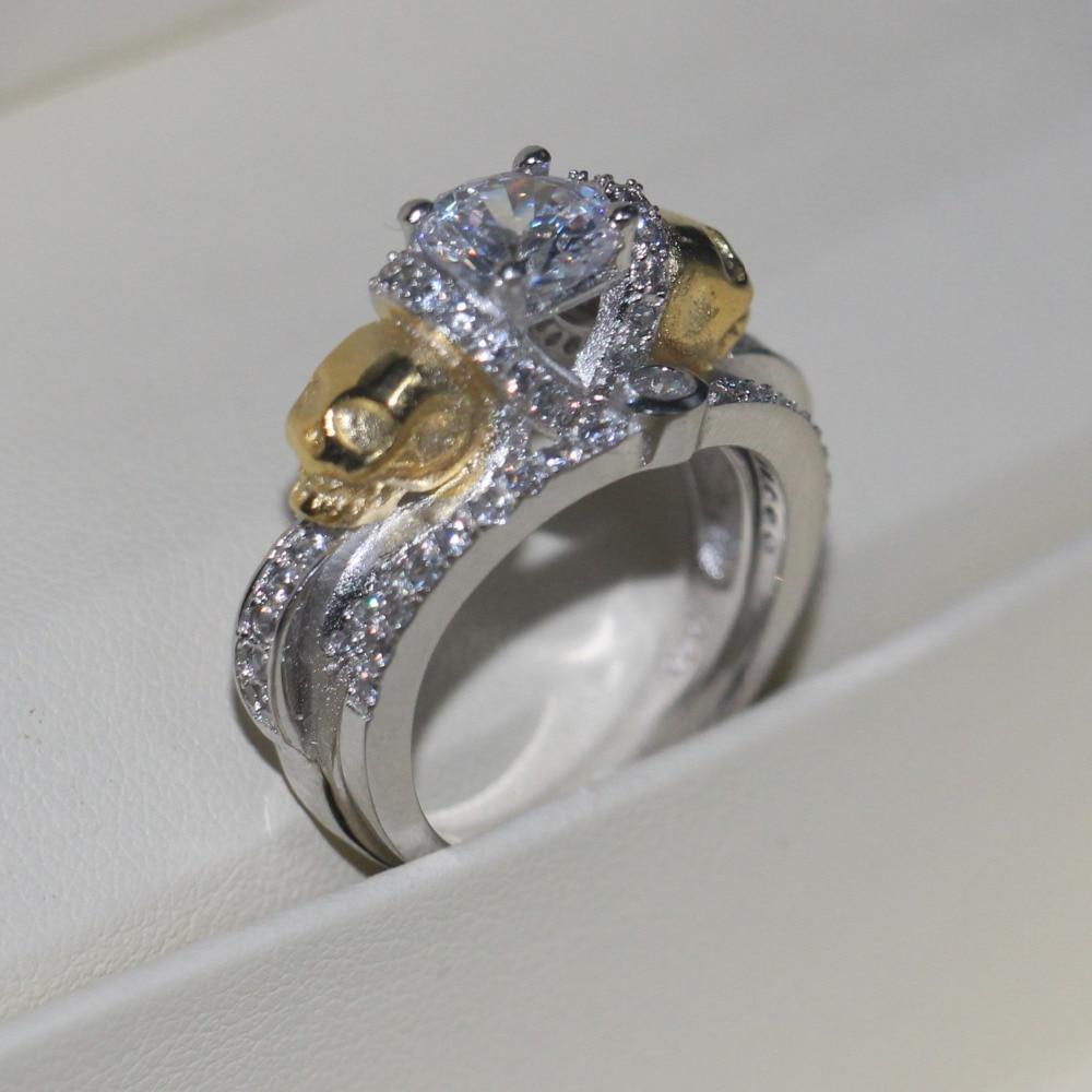 Vecalon Femmes Or Crâne Bijoux 2ct AAAAA Zircon Cz 925 Sterling argent Bague De Mariage Set pour les Femmes Femelle Doigt anneau