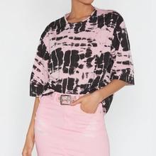 купить Harajuku Summer Women TShirt Pink Striped Batwing Half Sleeve Ladies Tops Printed T-Shirt 2019 Hot Sale O-Neck Casual Tee по цене 866.9 рублей