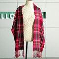 Marca de moda dos homens Novos de Inverno Lenços de Cashmere Senhoras Grosso Grade Britânico Cachecol Mulheres