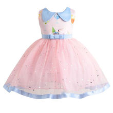 Платье детское летнее Сетчатое без рукавов с блестками и принтом