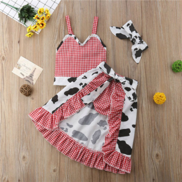 444382fda Kids Baby Girl Infant Cow Plaid Sleeveless Strapped T-shirt Tops+Dress+Shorts+Headband  Outfits Clothes Sunsuit 4pcs Red 1-5Y