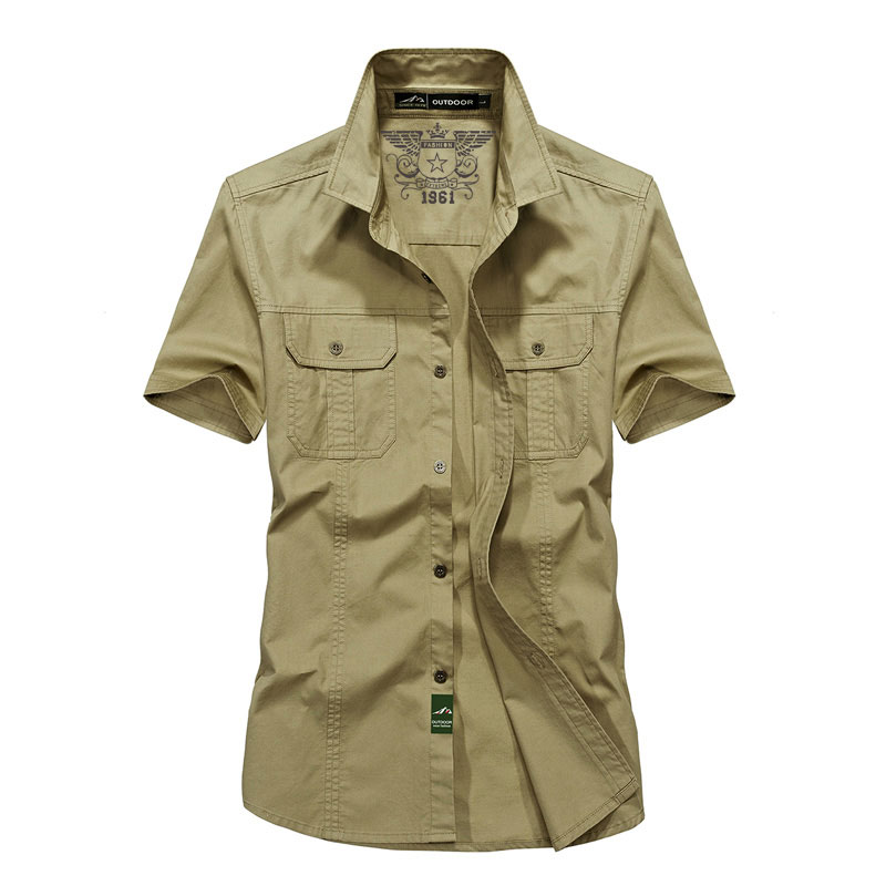 2018 New Summer Mens Military Casual Dress Cargo Shirts Breathable Short Sleeve Tops Shirt Mens Casual Solid Color For Man