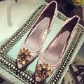 Sexy de encaje en punta mujeres bombas Rhinestone de lujo Slip On High Heels finos zapatos de boda mujer verano colorido zapatos de un solo