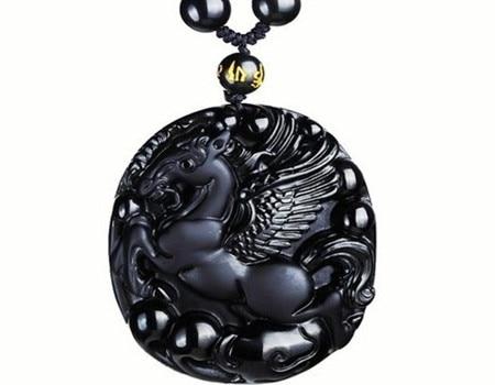 Bao Wu light natural Obsidian Ma Yue longta Pendant Zodiac Tiger mascot Pendant Necklace Choi Chun door diy real stone Obsidian бампер bao chun 730