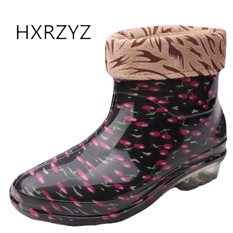 HXRZYZ Women rain boots female plus cotton rubber ankle boots spring/autumn fashion Slip-Resistant Waterproof shoes women hxrzyz women rain boots spring autumn female ankle boots ladies fashion high top blue and red non slip waterproof women shoes