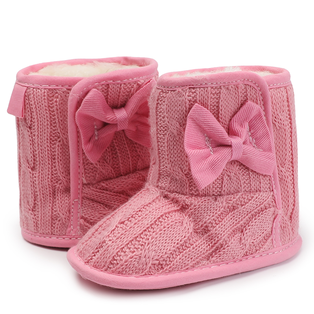 2018 Knitting Babies Shoes Winter Newborn Hand-made Bowknot Fleece Snow Boots For Baby Girl Boy Non-slip Booties 0-18 Months
