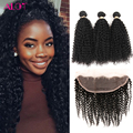 Mongolian Kinky Curly Hair With Frontal Closure Virgin Human Hair With Ear To Ear Closure HC Hair Company Bundles With Closure