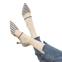 06c85683454 YOUYEDIAN Women's sexy shoeWild Pointed Sandals Wave-Dot Striped Hollow High  Heels Single Shoes escarpins