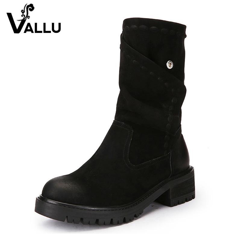 2018 Winter Genuine Leather Women Boots Round Toes Handmade Color Button Mid Calf Vintage Women Warm Boots Fur mabaiwan handmade rivets military cowboy boots mid calf genuine leather women motorcycle boots vintage buckle straps shoes woman