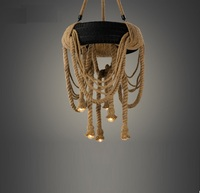 Промышленные Ретро Лофт пеньковая веревка шин люстра кулон Эдисон лампа светильник для домашнего кафе бар украшения