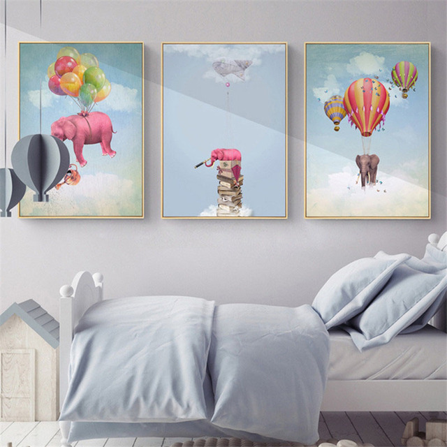 US $3.51 40% OFF|HAOCHU Nordic Cute Cartoon Elephant Animal Hot Air Balloon  Sky Cloud Children\'s Bedroom Decoration Painting Living Room Study-in ...