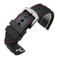 22MM 24MM Watchband Military Bracelet Ourdoor Red Line Stitching Sport Rubber Black Silicone Soft Waterproof Watch