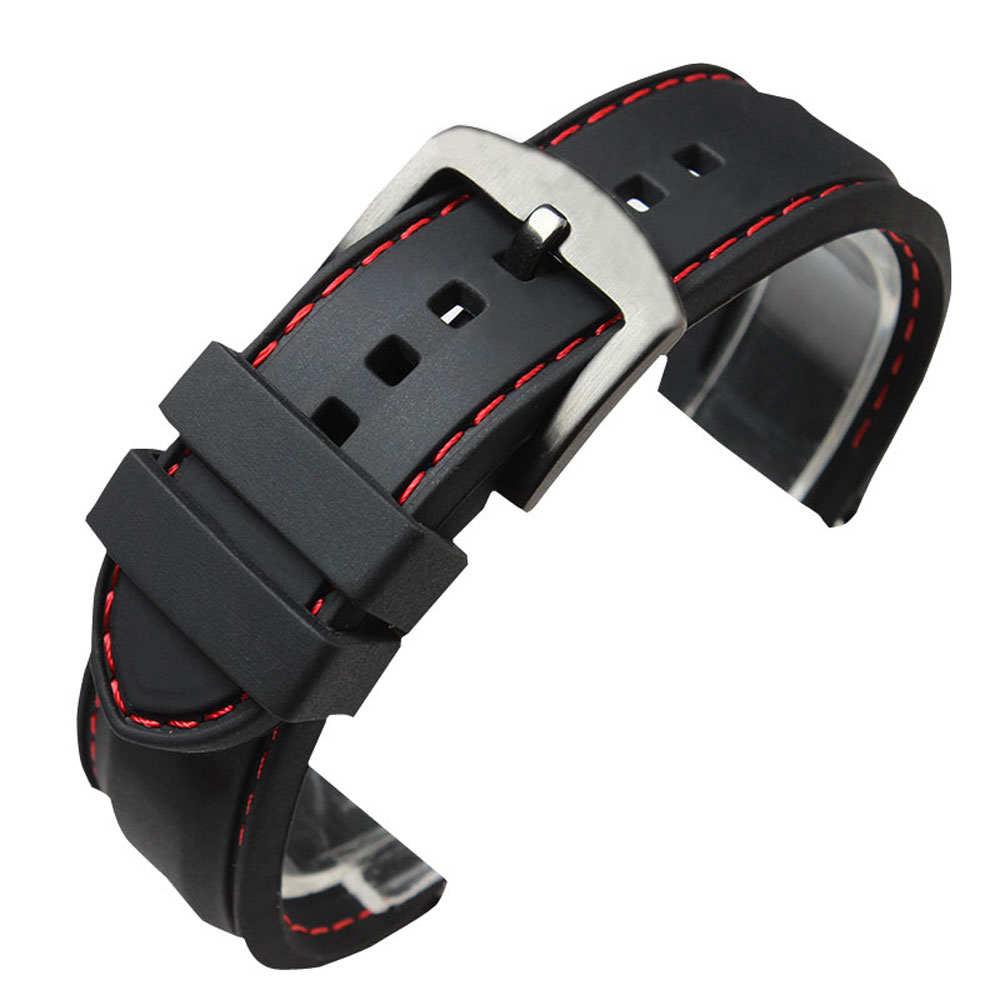 22MM 24MM Watchband Military Bracelet Ourdoor Red Line Stitching Sport Rubber Black Silicone Soft Waterproof font