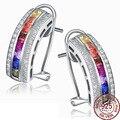 Étnica Multicolor opal Gem envio 925 Sterling Silver Stud Brincos Mulheres Presente de Casamento Fine Jewelry Cristal Retro Luxo Estilo Indiano