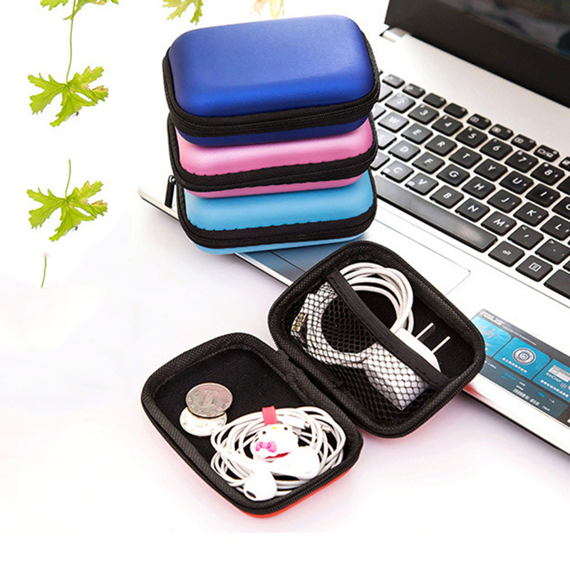 Fashion Mini Zipper Earphone Headphone SD Card Bag Storage Box Key Wallet Travel Accessories Packing Organizers