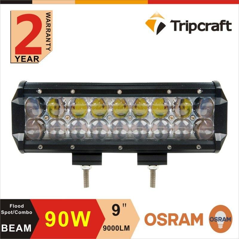 ФОТО Super Bright 9''Inch 90W Offroad LED  Light Bar Spot Flood Combo Truck Trailer SUV Boat Pick up 4WD 4X4 12V 24V 2 years warranty