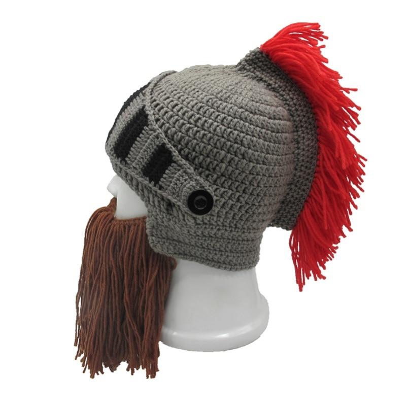 Mens Boys Roman Helmet Knight Thermal Knit Beard Ski Mask With Winter Hat HD