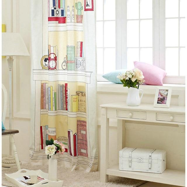 Korean style cotton curtain bookshelf design decorative curtain for