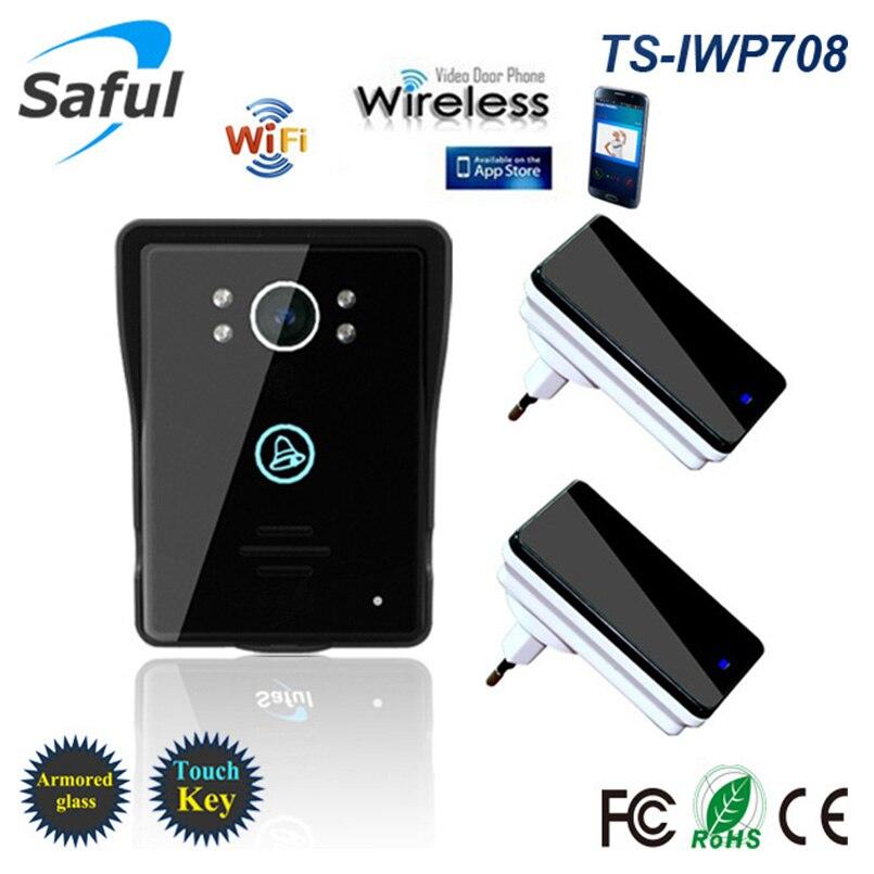 Saful WiFi Wireless Video-türsprechanlage intercom Remote network access control mit Menschlichen erkennung alarm Funktion + 2 empfänger