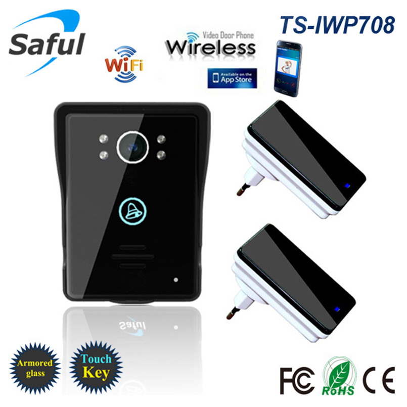 Saful WiFi Wireless Video Door Phone Intercom Remote Network Access Control With Human Detection Alarm Function+2 Receivers