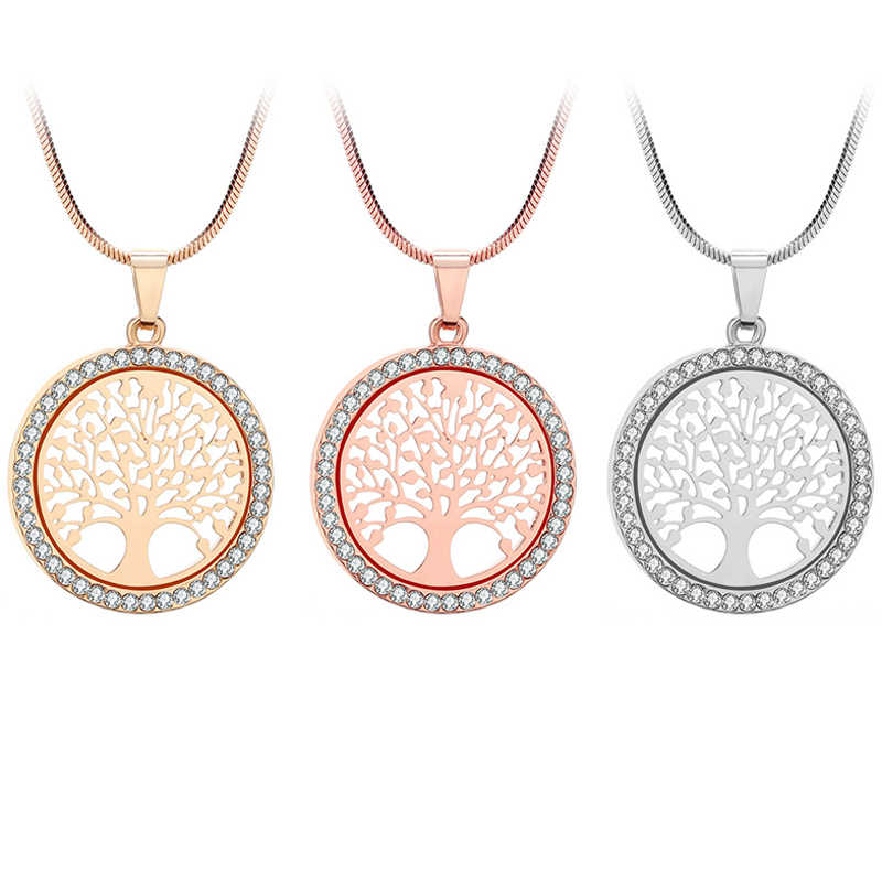 234d1d931dabb Round Fashion Crystal Life Tree Pendant Necklaces Tree Of Happiness For  Girlfriend Wife Gift Sweet Clavicle Chain Sweater Chain