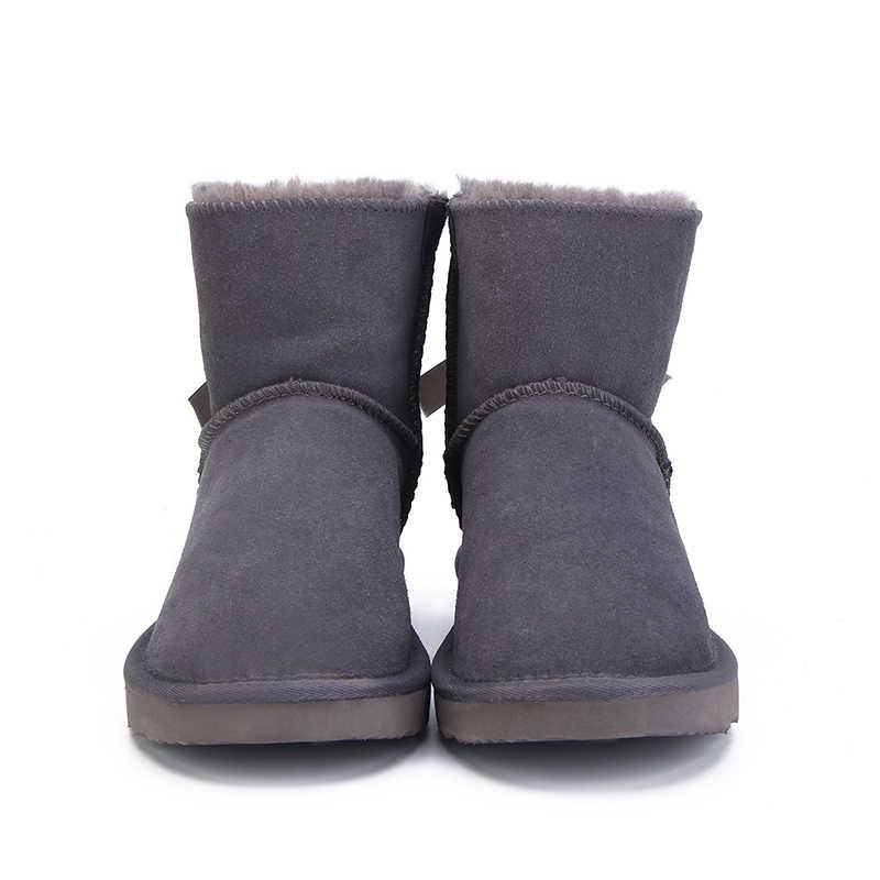 Moda Kadın Sıcak Kar Botları Kış Botları Hakiki Inek Derisi Deri Kadın Botları yarım çizmeler 12 renk Ayakkabı Boyutu 34-44