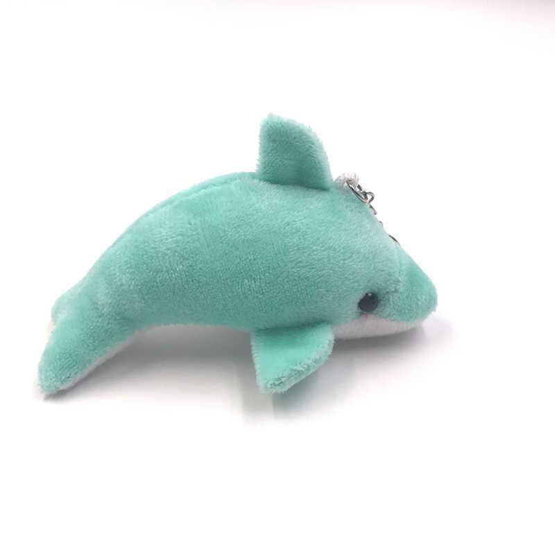 1 Uds 11 cm suave Mini dibujos animados DIY delfín animal relleno llavero muñeco de peluche juguete para regalo para niño adulto DDW10