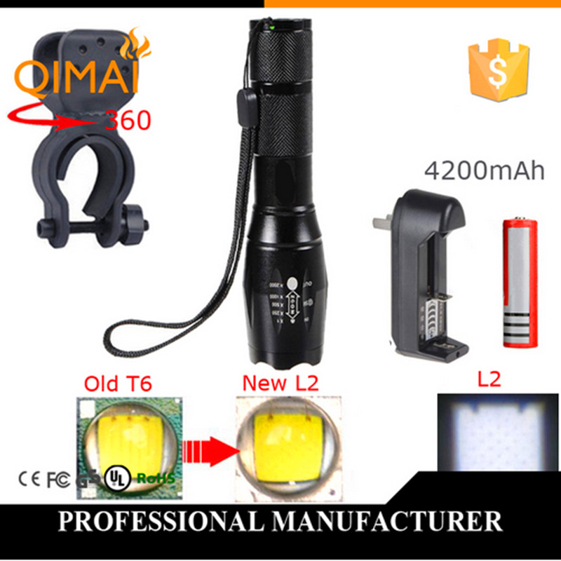 LED Rechargeable Flashlight CREE XM - L2 light 3800 lumens 18650  Battery with Holder Front Cycling Bike Bicycle Lights L 2017 newest flashlight led cree xm l2 flash light 4 mode torch bike bicycle light outdoor lighting 18650 battery mount holder