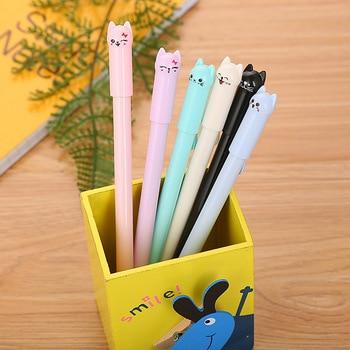 50pcs/set Creative Stationery Cap Cat Cartoon Gel Pen Cute Tail Cat Learning Office Water Pen Manufacturer Direct