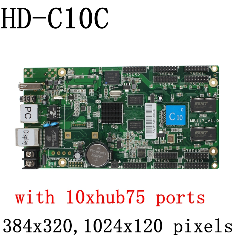 HD-C10C USB + Ethernet Port Asynchronous controller Full color Video LED control card 320*384 pixels with 10xhub75 ports u 3 usb sd asynchronous full color video led control card 384 128 768 64pixels u disk rgb module led screen drive system
