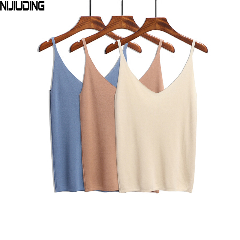 NIJIUDING Summer Women   Tank     Tops   Casual Shiny Ice Silk Knitted Camis Sleeveless Vest Sexy Deep V-Neck Party Solid Camisole Femme