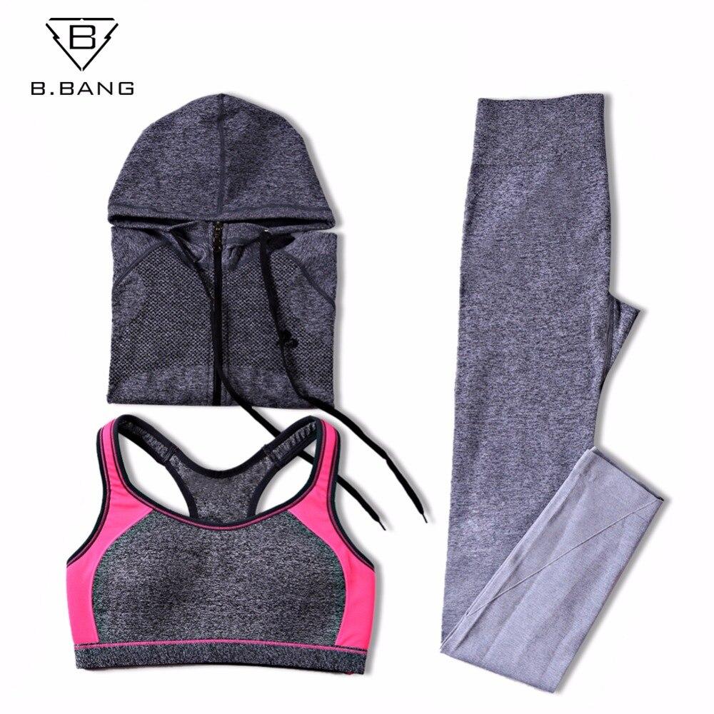 B.BANG Women Sport Yoga Sets for Running Gym Sportswear Sports Top Gym Push Up Bras Running Jacket Ladays Yoga Pants+Bra+Jacket original nike pro hypr clsc pad bra women s sports bras sportswear