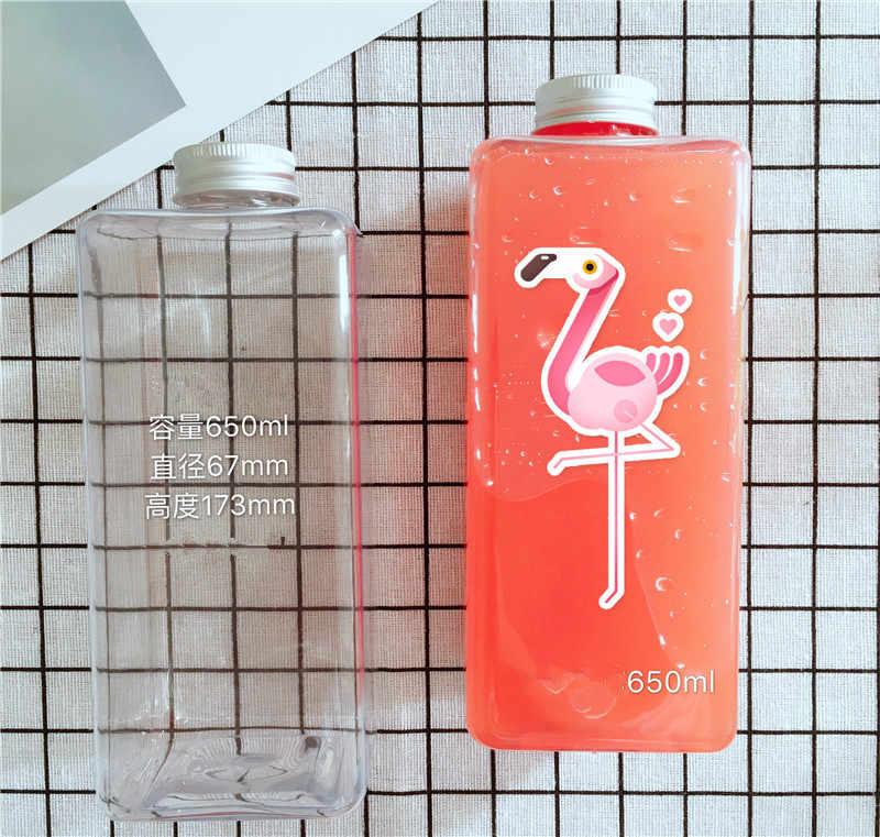 Square Plastic Transparent Fruit Juice Beverage Bottle Coffee Milk Tea Take Away Packs 450ml 650ml 10PCS