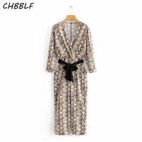CHBBLF women stylish animal pattern print jumpsuits V neck long bow tie sashes rompers ladies fashion playsuit O8877