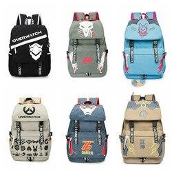 Männer Männlichen Leinwand Overwatchs Rucksack Schüler Schule Laptop Rucksack Reisetaschen für Jugendliche Vintage Mochila Casual Rucksack