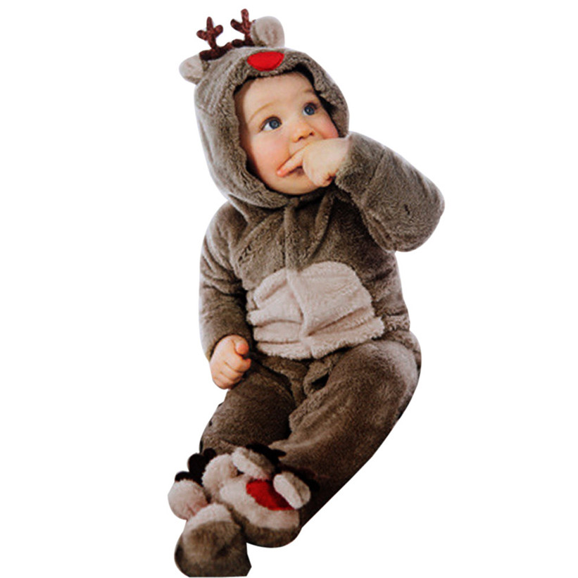 2017 Newborn Baby Clothes Girl Boy Deer Romper Winter Warm Outwear Outfits