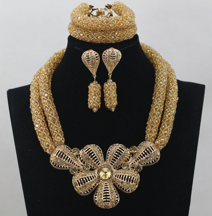 Multicolor Nigerian Champagne Gold Accessories African Beads Jewelry Set Crystal Beads Necklace Jewelry Set Free Ship ALJ690 все цены