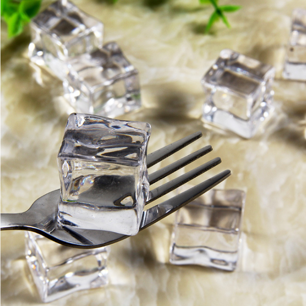 5PC/Set Photography Props Fake Ice Cubes Reusable Artificial Acrylic Crystal Cubes Whisky Drinks Display Wedding Party Decor