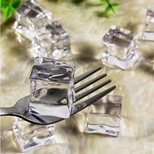Adereços de fotografia, falso cubos de gelo reutilizáveis, artificial acrílico, cristal, exibição de bebidas uísque, decoração de festa de casamento