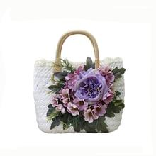 2018 Straw Bags for Women Handmade flowers handbag summer Beach tote ba