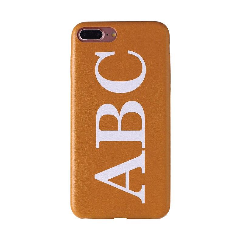 Настоящая кожа, роскошный, смелый, на заказ, с именем, текст, начальный чехол для телефона, чехол, Coque Funda для iPhone 11 Pro X 6S XS Max 7 7Plus 8Plus - Цвет: Font 1-Brown Leather