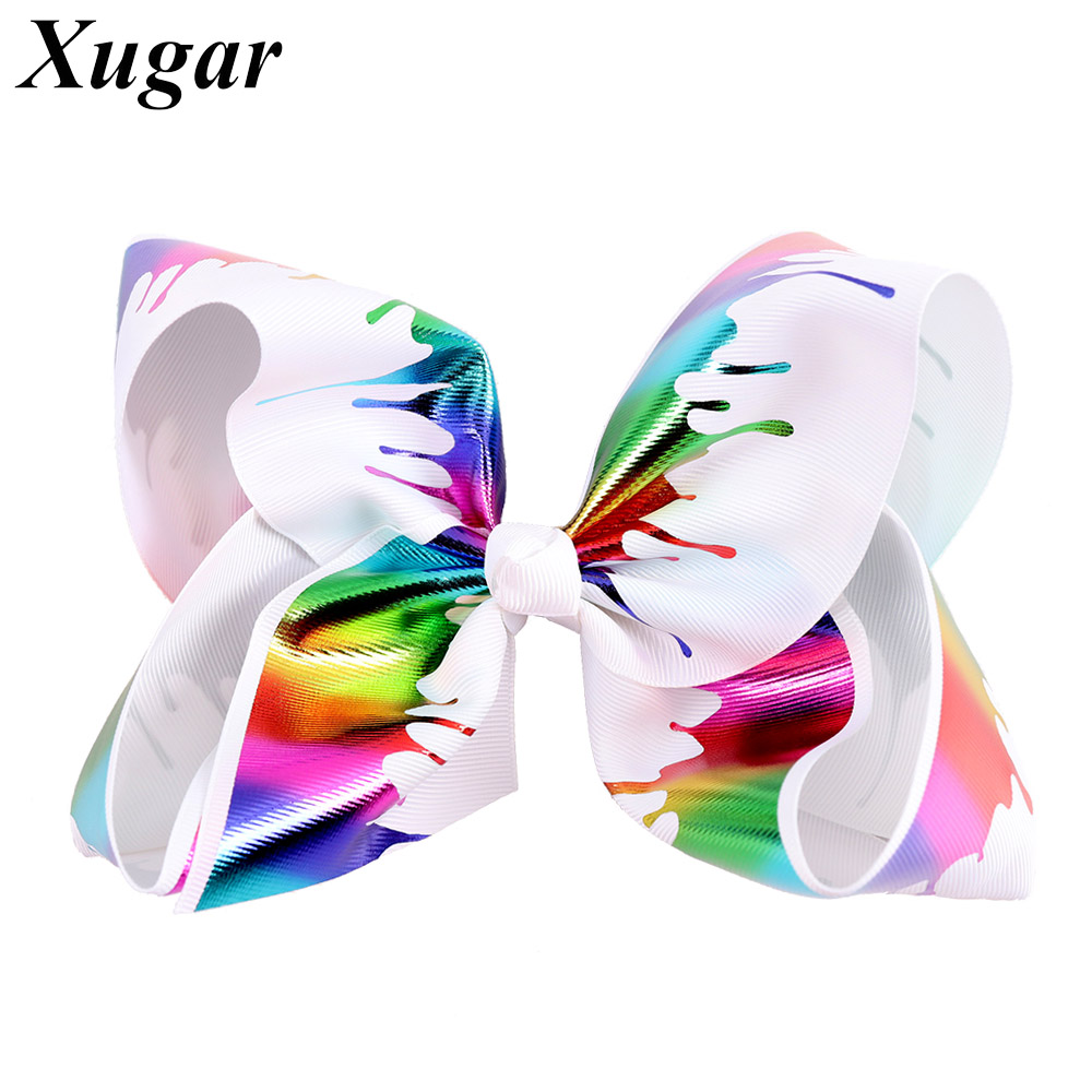 7 Rainbow Graffiti Printed Hair Bows for Girls Jumbo Bows Hair Clip Kids Colorful Ribbon Hairgrips Hair Accessories