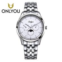 Onlyou Для мужчин Часы Лидирующий бренд роскошные женские часы Нержавеющаясталь браслет наручные часы Водонепроницаемый кварцевые Для мужчин часы Пара часы