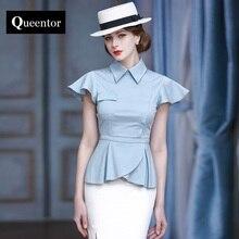Queentor 2017 Рубашка бренда офиса Женский высокого класса Урожай с коротким рукавом Элегантный Трепал Блузка Женщины