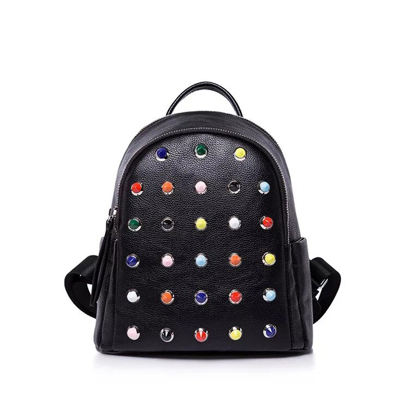 2017 New Arrival Fashion Women's Backpack Leather Small Shoulder Bag Colorful Rivet Mochila Feminina School Bags for Teenagers new fashion lady pu leather bag small women mini backpack mochila feminina retro school backpacks for teenagers shoulder bags