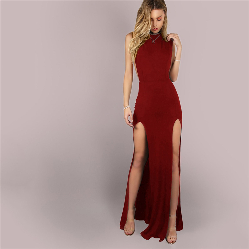 fcd81a118d SHEIN Burgundy Sexy Party Solid Mesh Back Double Slit Maxi ...